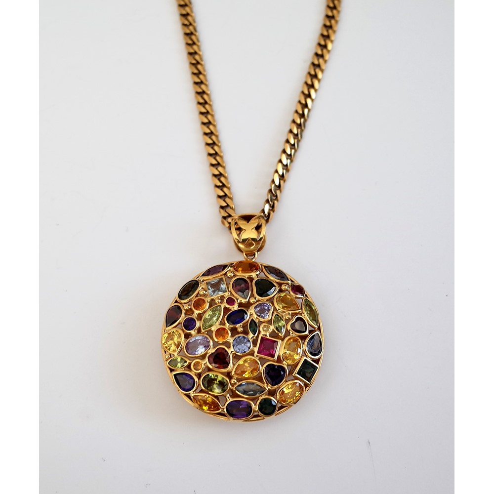 A gold and varicoloured gemstone set pendant, of circular abstract form, mounted with variously... Image