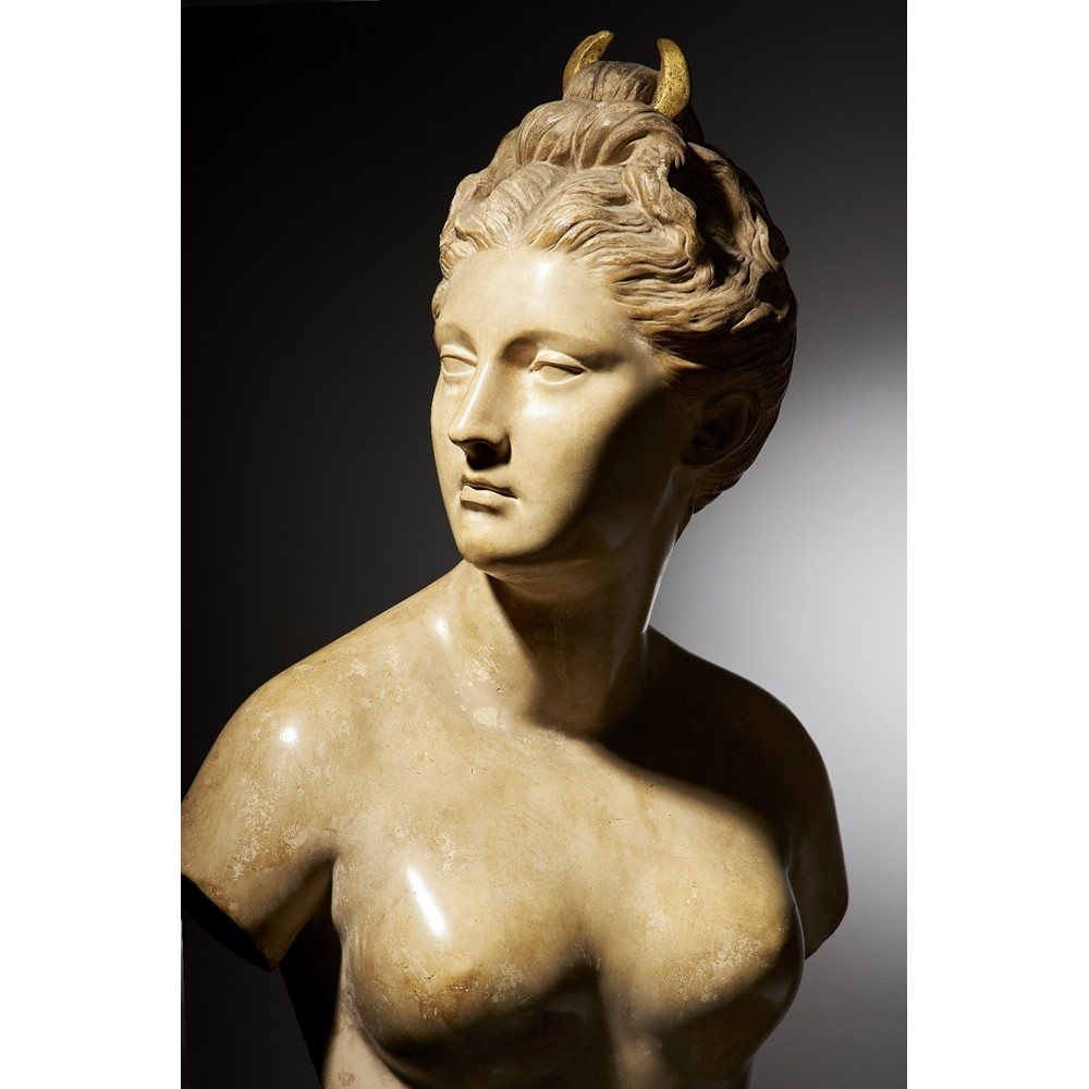 Friedrich Goldscheider; an early 20th century pottery bust of a goddess emblematic of night... Image