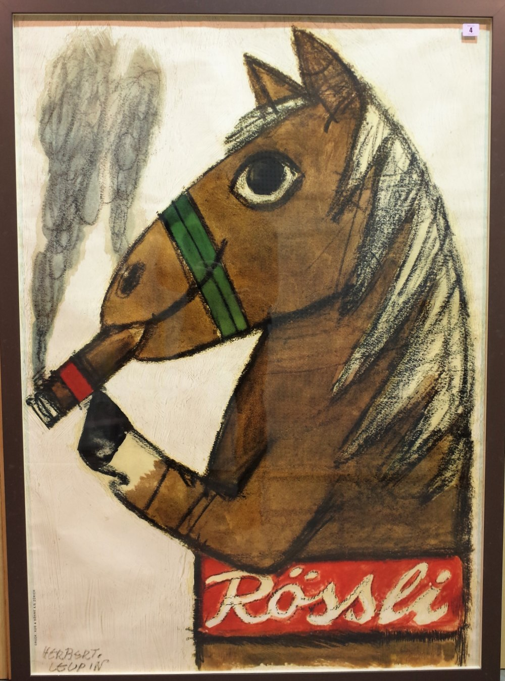 Herbert Leupin 'Rossei', produced by Druch and Sohn A.G. Zurich, depicting a horse smoking a... Image
