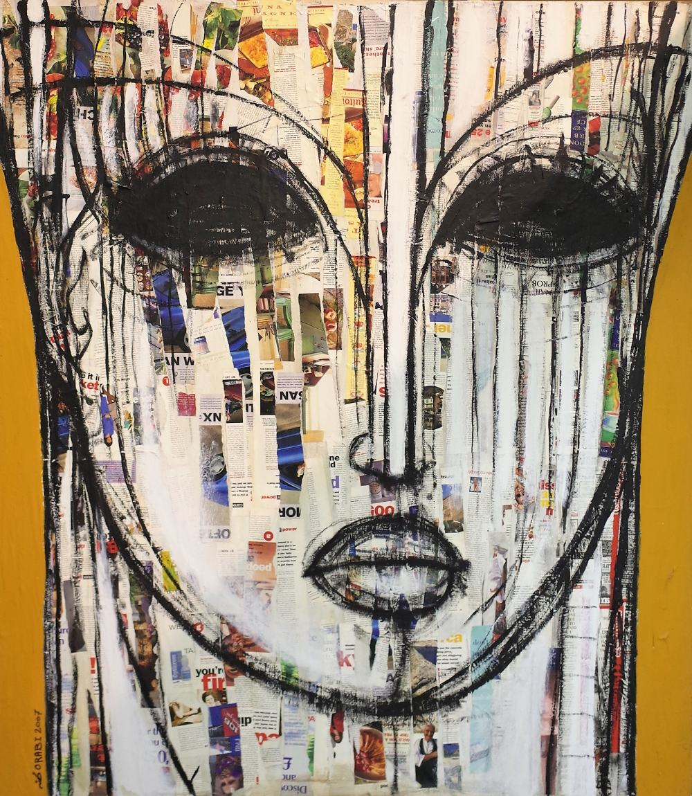 Mohanned Orabi (Syrian b.1977) Untitled, mixed media, face portrait, signed 'ORABI 2007', 150cm x... Image