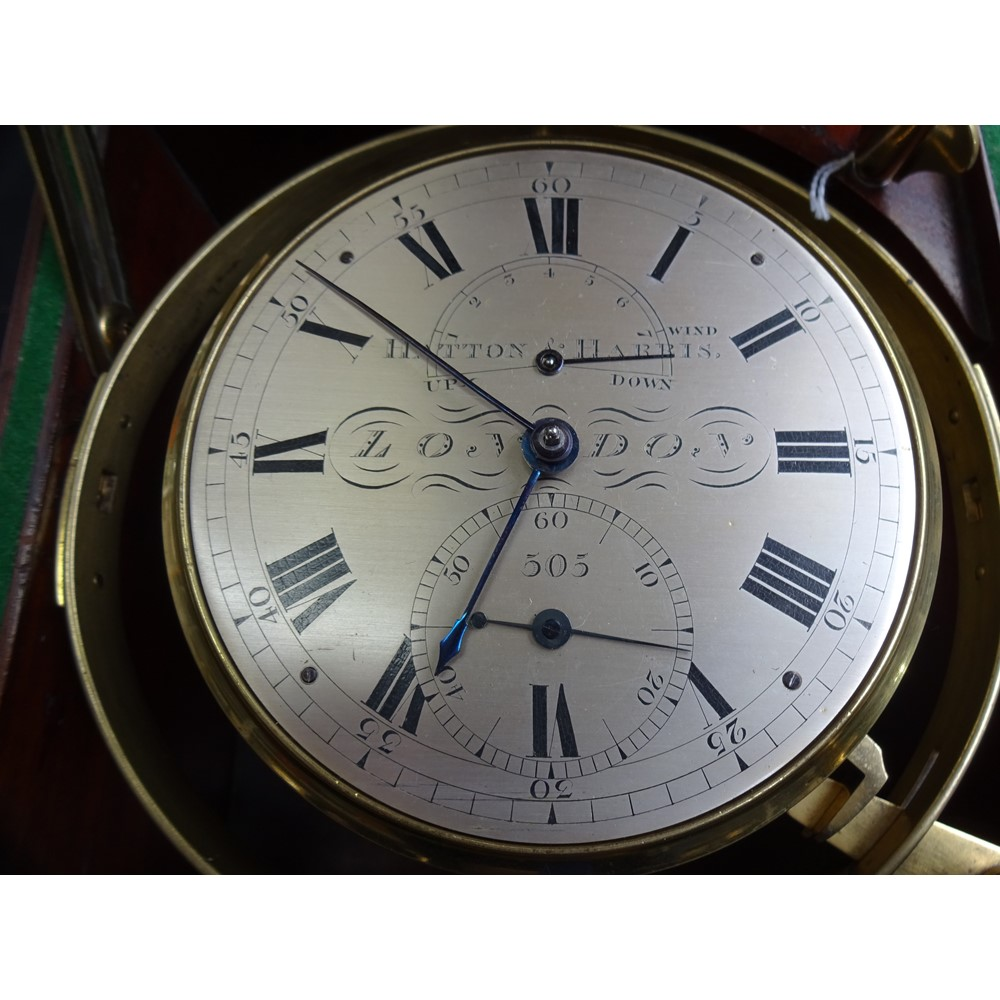 A Fine & Rare mahogany and brass-bound eight-day chronometerBy Hatton & Harris, London No. 505,... Image