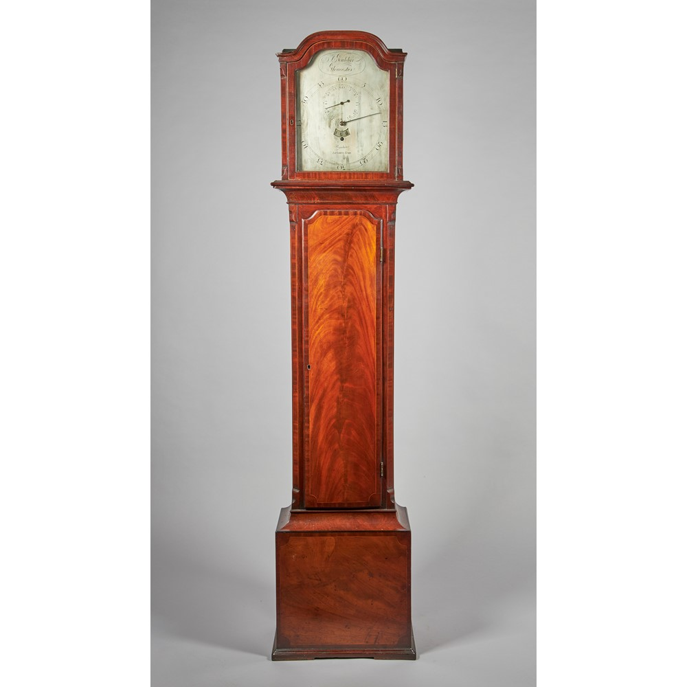 A LATE GEORGE III MAHOGANY AND OUTLINED REGULATORSigned J. Gouldar, Gloucester The case with a... Image