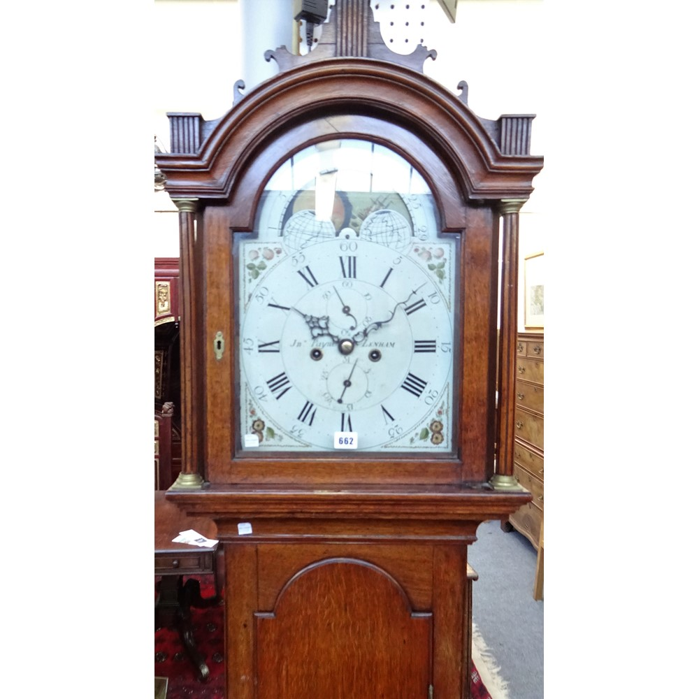 A GEORGE III OAK LONGCASE CLOCKBy John Payne, Lenham, circa 1780The case with an arched pediment... Image