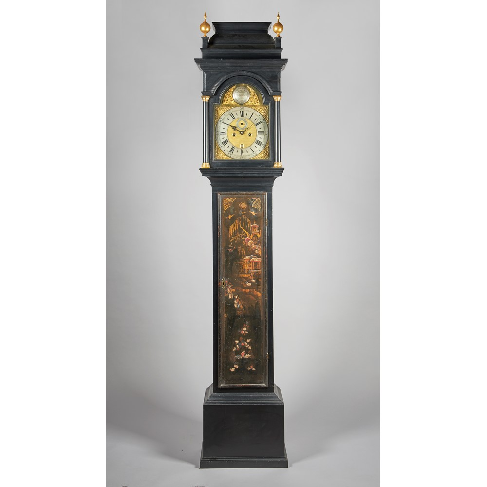 AN EBONISED AND CHINOISERIE DECORATED LONGCASE CLOCKThe movement by William Skikelthorp,... Image