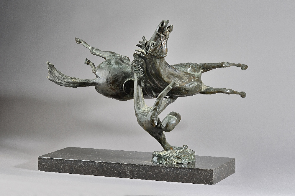 James Osbourne (191 -1992) a bronze depicting a falling horse and jockey, mounted on a black... Image