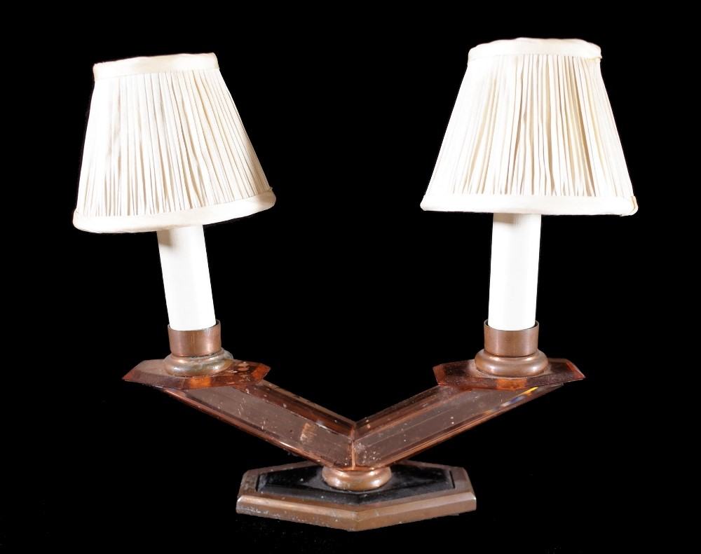 A set of four Art Deco coloured glass twin branch wall lights, each with a shaped backplate and... Image