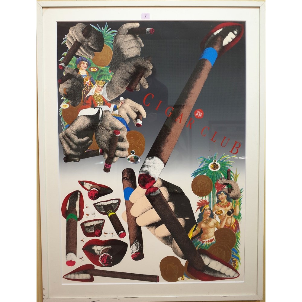 Tadanori Yokoo 'Cigar Club', lithographic coloured poster, 102cm x 72cm, framed and glazed and a... Image