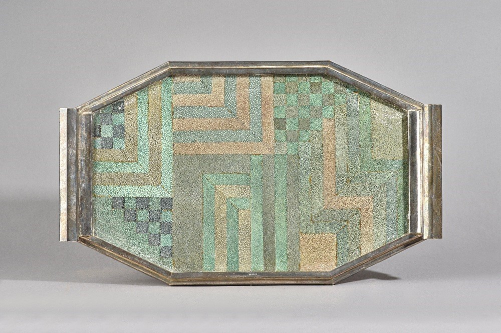 An Art Deco octagonal silver tray with marquetry shagreen decoration, probably American, marked... Image