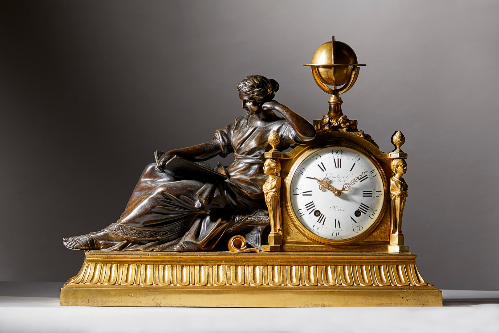 A large French ormolu and patinated... Image