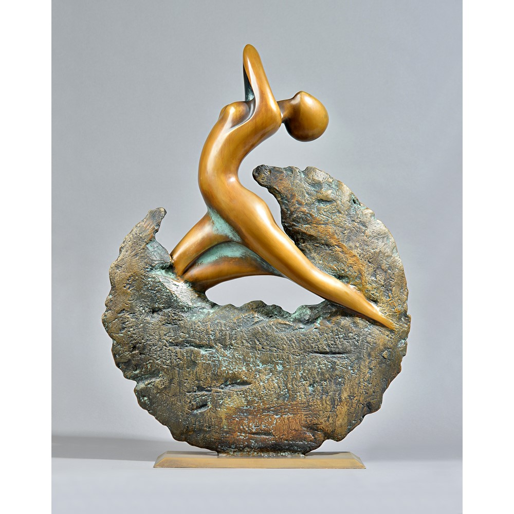 Loni Kreuder (German b.1940) 'Metamorphosis 2', patinated bronze figural sculpture, on a... Image
