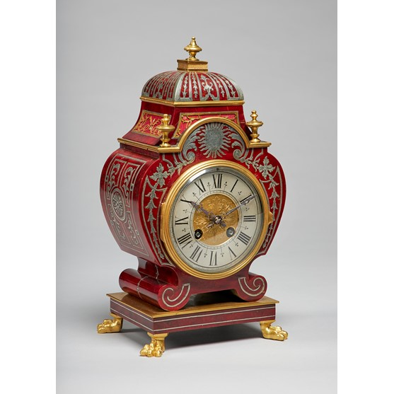 A French ormolu-mounted tortoiseshell and pewter-inlaid mantel clockIn the Regence style, in the... Image