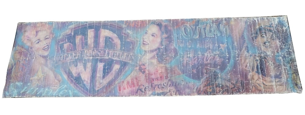 Advertising; a large 1940s Warner Bros.Pictures painted canvas  promotional cinema banner,... Image