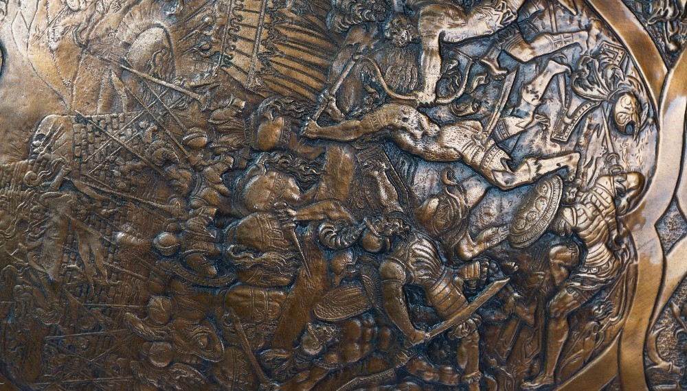 A late 19th century copper copy of the shield of Henry II of France, depicting a Roman battle... Image