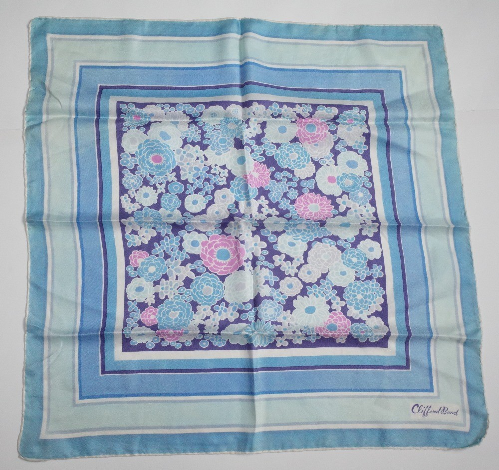 A collection 1960s and 1970s printed silk scarves, including a Pierre Cardin example; a Clifford... Image
