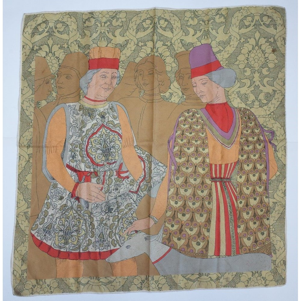A collection of six large silk pictorial printed scarves, including a Jaqmar scarf entitled... Image