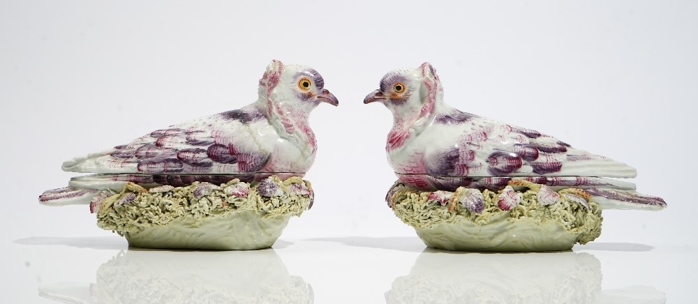 A pair of Derby pigeon tureens and covers, circa 1760, each bird seated on a nest encrusted with... Image