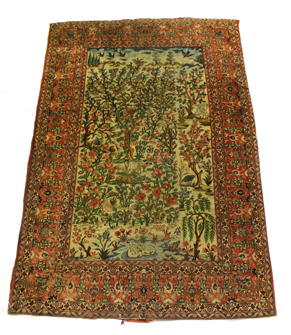 An Esfahan pictorial tree of life rug,... Image
