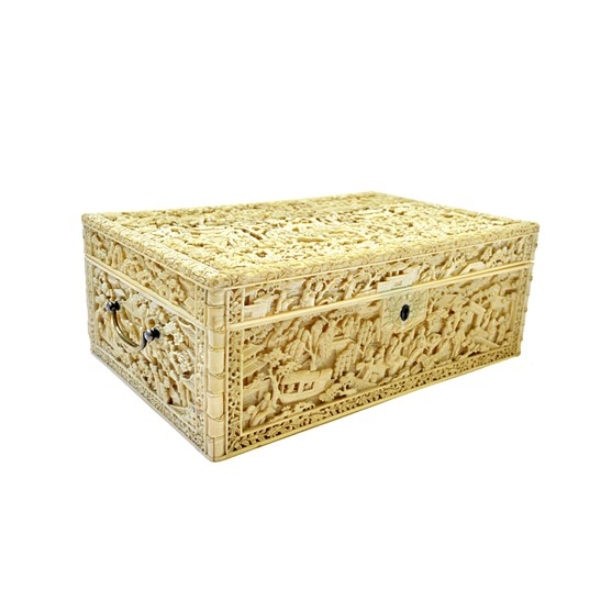 A good Canton ivory workbox, 19th... Image
