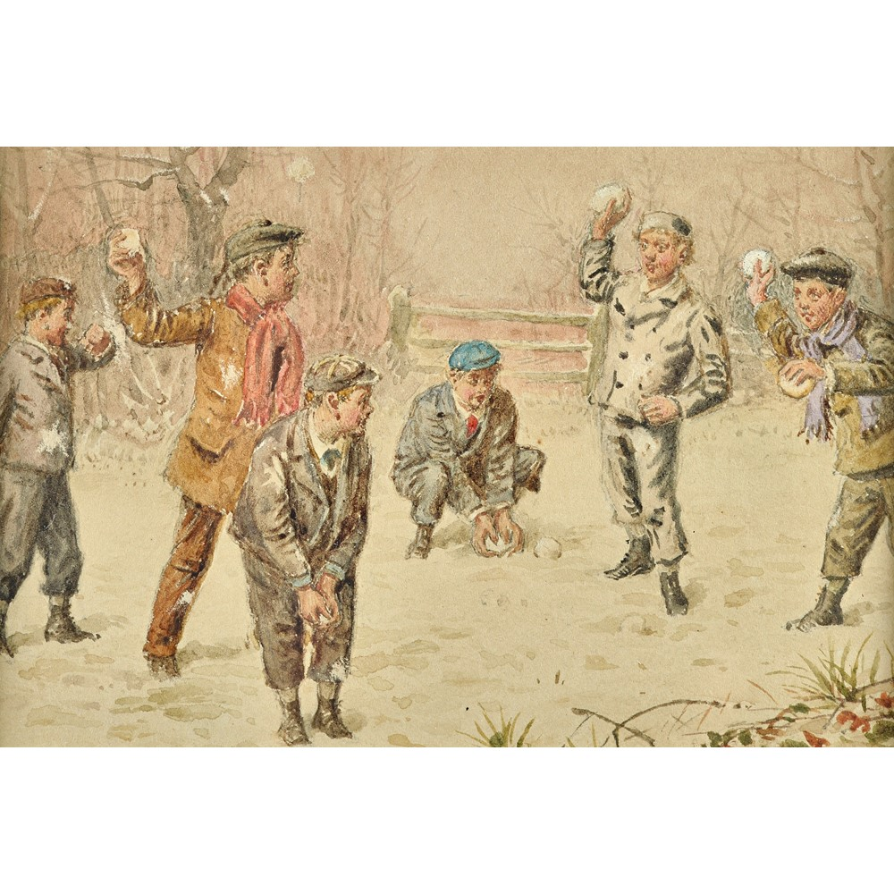 George Goodwin Kilburne (1839-1924), Blind Mans Buff; The Snowball fight, a pair, watercolour,... Image