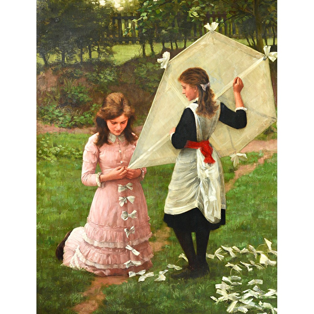 John Morgan (1823-1886), The Kite Flyers, oil on canvas, signed, 138cm x 108cm. Image