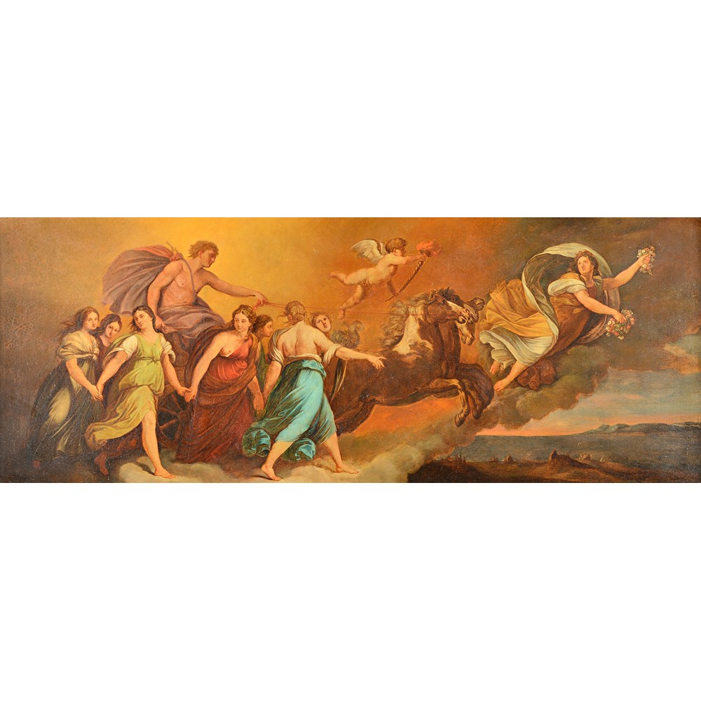 After Guido Reni, Aurora Leads The Chariot of Apollo, oil on canvas, 39cm x 104cm. Image