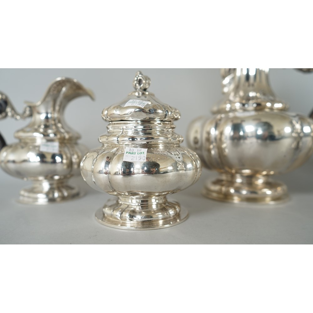 A European five piece tea and coffee set, comprising; a teapot, a coffee pot, a large jug, a... Image