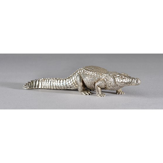 A Patrick Mavros model of a crocodile, detailed 20 12 04, length 22cm, gross weight 565 gms. Image
