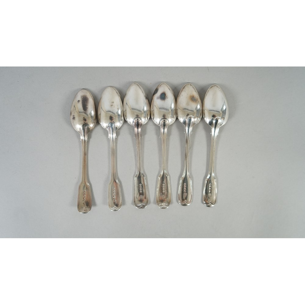 Thirteen silver double struck fiddle and thread pattern teaspoons, mixed dates, weight 358 gms,... Image