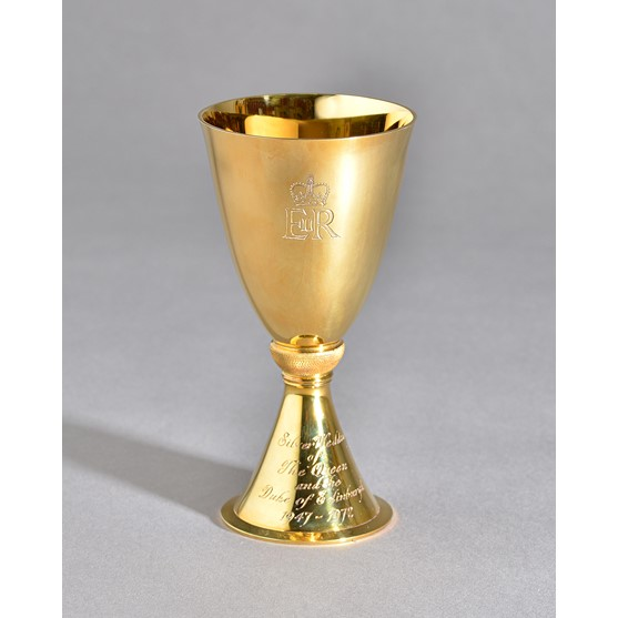 An Elizabeth II 18ct gold Limited Edition Commemorative Goblet, detailed Silver Wedding of The... Image