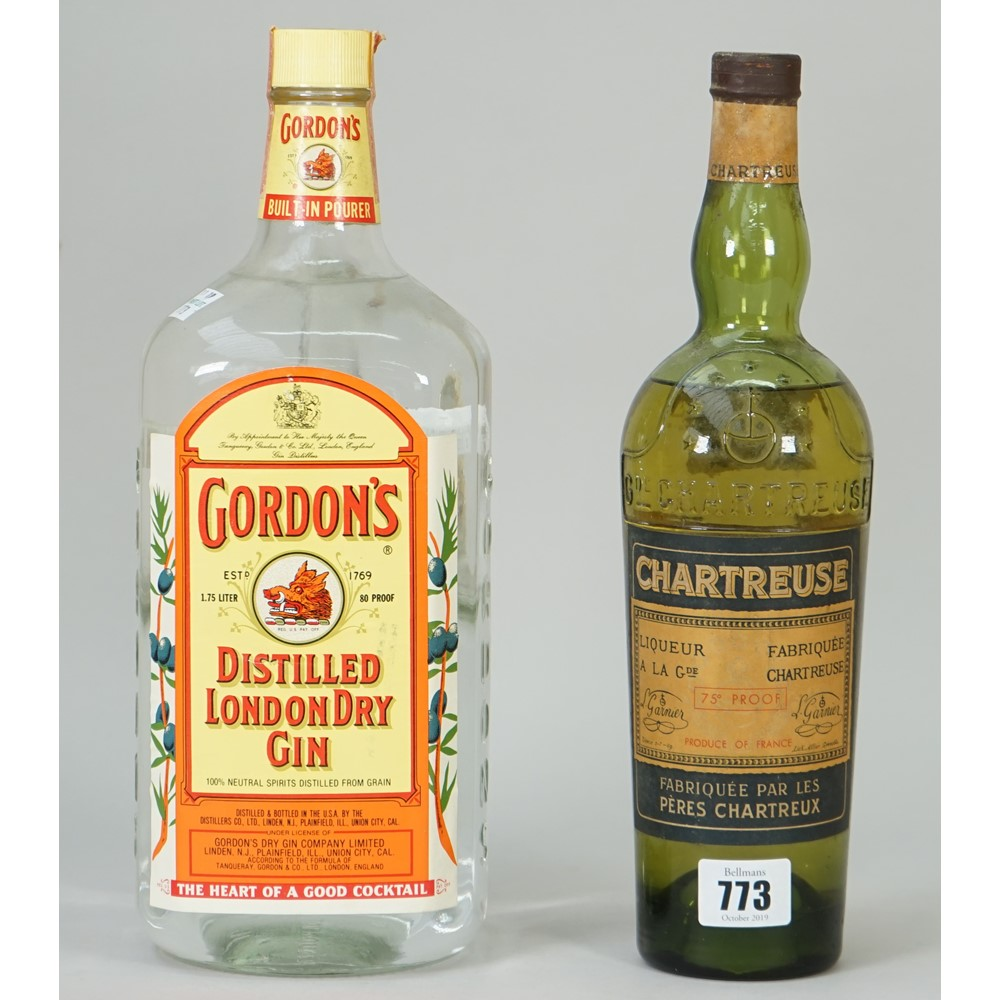One bottle of Chartreuse green liquer and a 1.75L bottle of Gordons distilled London dry gin, (2). Image