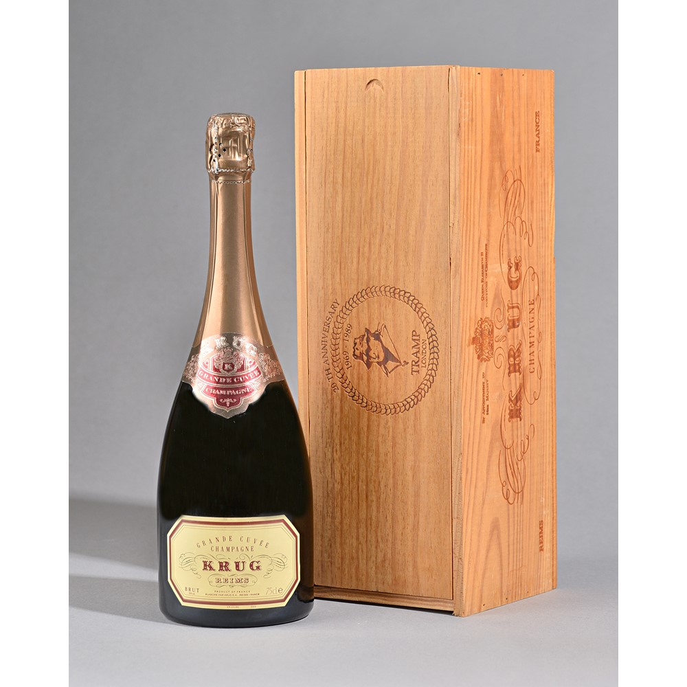 One bottle 1989 Krug champagne. Special limited edition in a stamped wooden presentation box... Image
