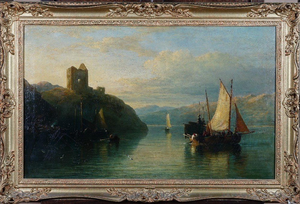 Follower of Edmund Thornton Crawford, Fishing boats in a mountainous water landscape, oil on... Image