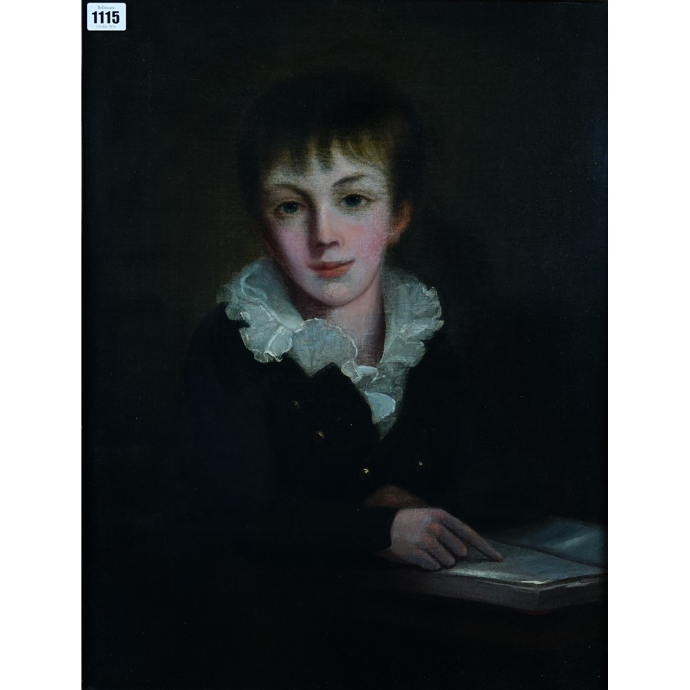 Follower of George Romney (1734-1802), Portrait of a young boy, oil on canvas,  57 x 43 cm Image