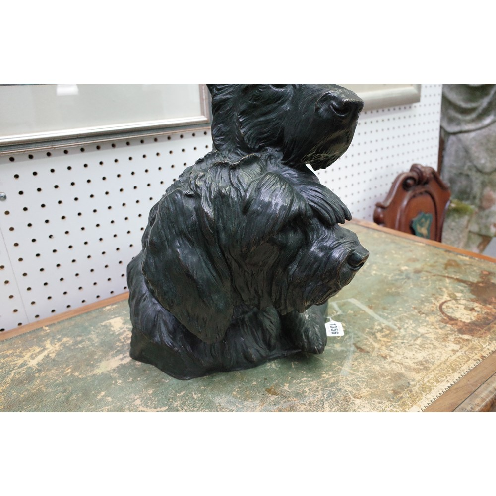 Irenee Rochard (1906-1984), a French bronze bust of two terriers, signed, 42cm high. ARR. Image