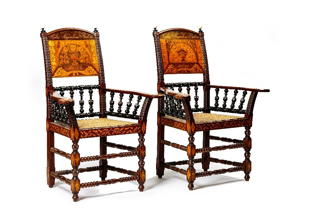 A pair of walnut rosewood sycamore ebonised floral marquetry openarm elbow chairs, Danish, 19th... Image