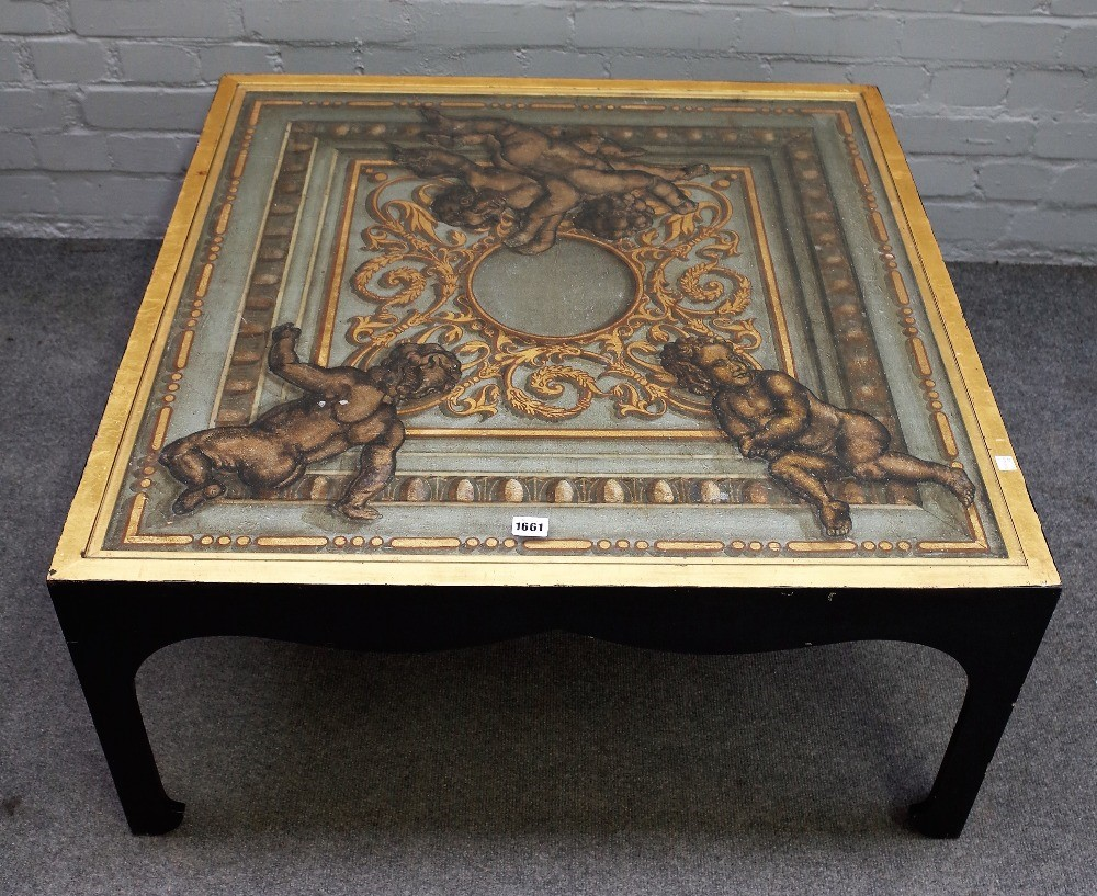 A 20th century square coffee table, polychrome painted with cherubs on a neo-classical... Image