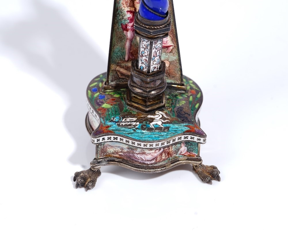 A late 19th century Viennese silver and polychrome enamelled model, designed as a harp, by Herman... Image