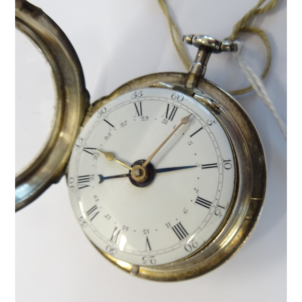 A George III silver twin cased, openfaced, key wind gentleman's calendar pocket watch, the gilt... Image