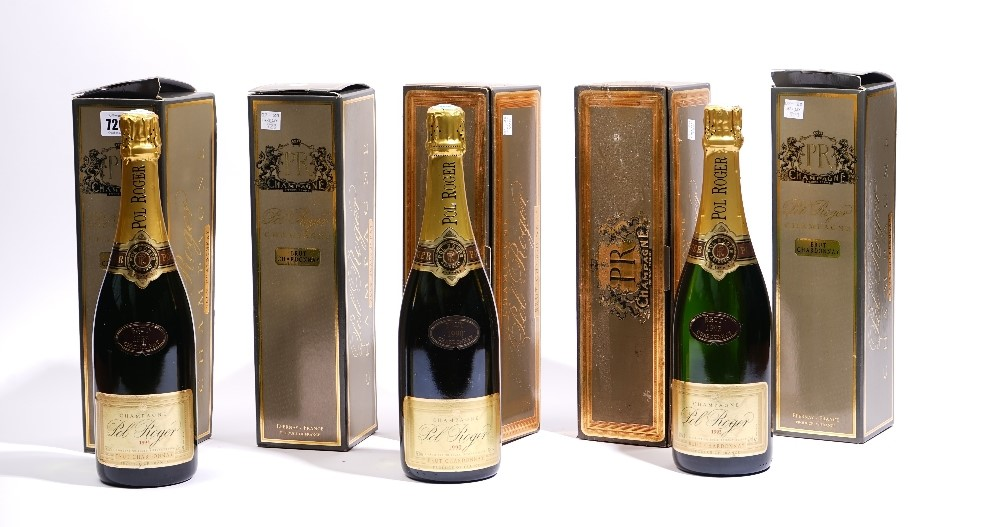 Five bottles of Pol Roger Brut Chardonnay Champagne, boxed, three 1993 and two 1990. (5) Image