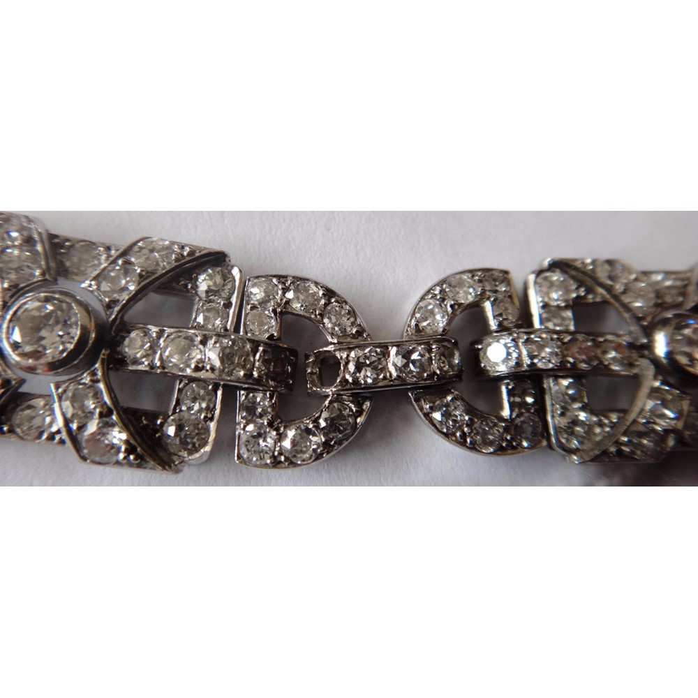 A pair of French platinum and diamond... Image