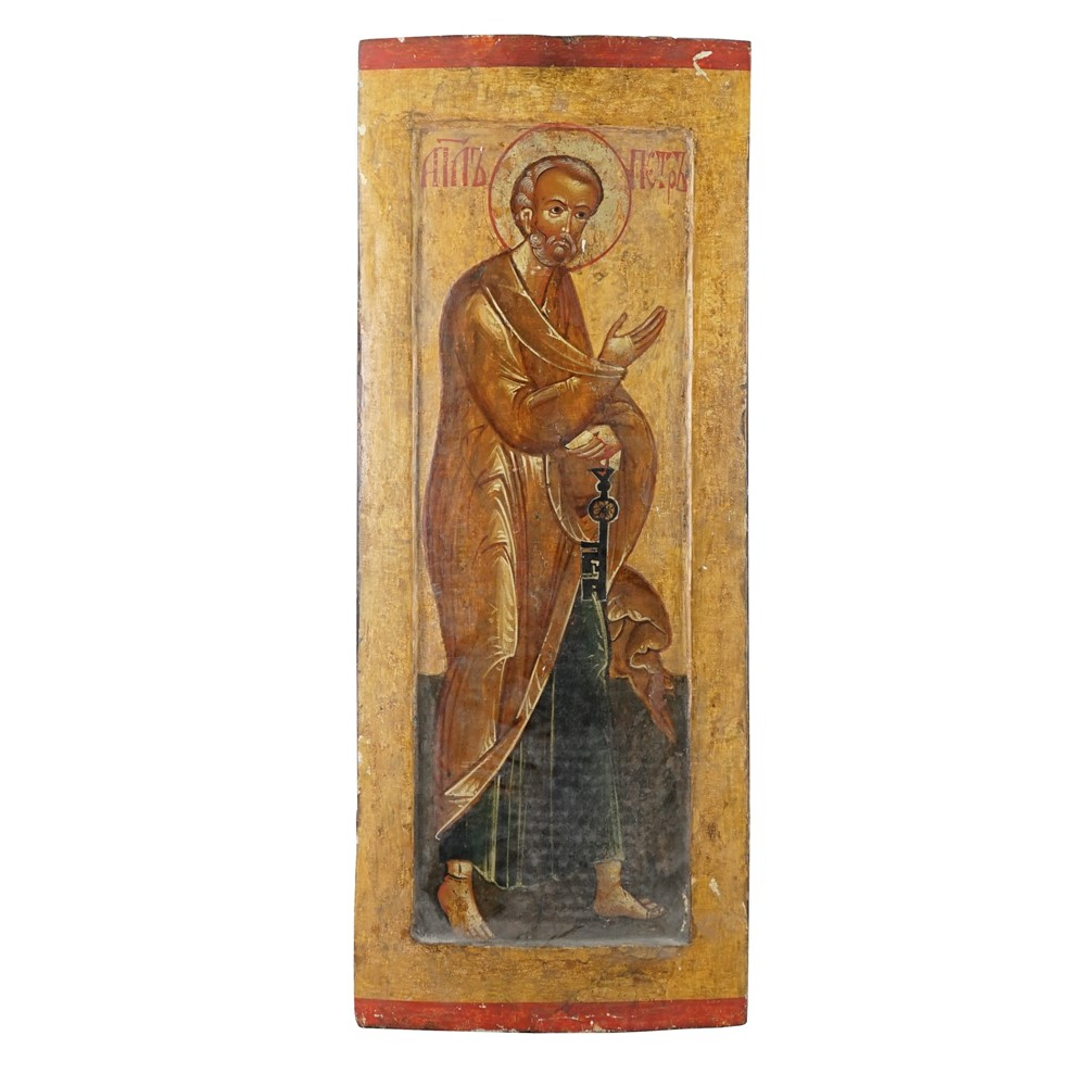 A 19th century Russian Icon depicting a saintly figure, possibly Saint Peter, holding a key... Image