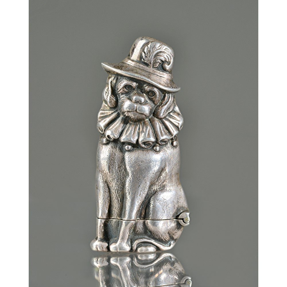 A novelty silver vesta, depicting Punch's dog, 'Toby', hallmarked London 1998, with makers stamp... Image