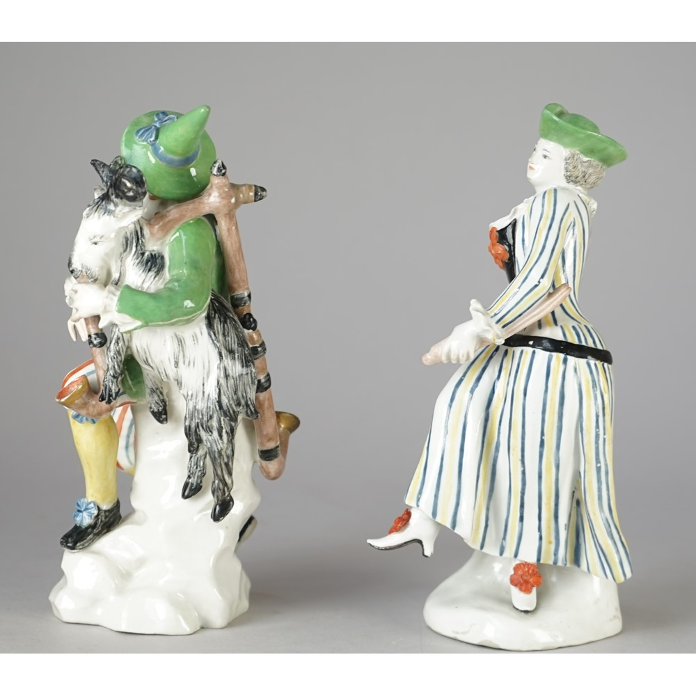 A rare pair of  early Höchst figure of Harlequin and Columbine, circa 1750-53, probably modelled... Image