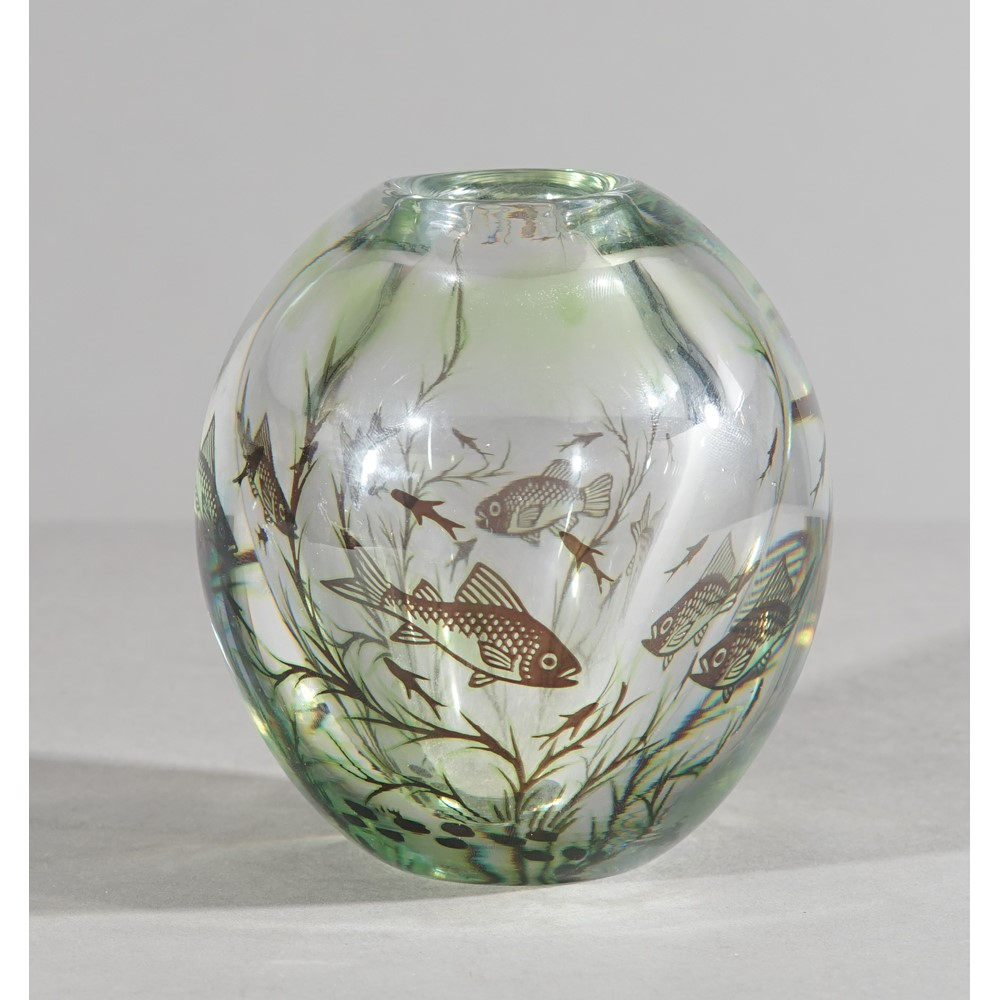 Edvard Hald 'Graal' fish vase for Orrefors, circa. 1955, green, brown and clear glass, signed... Image