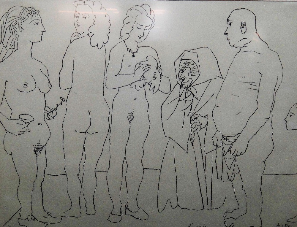 Pablo Picasso (Spanish, 1881-1973), Personnages et Colombe, lithograph, dated 18.2.54, signed and... Image