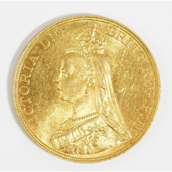A Victoria Jubilee head five pounds piece 1887. Image