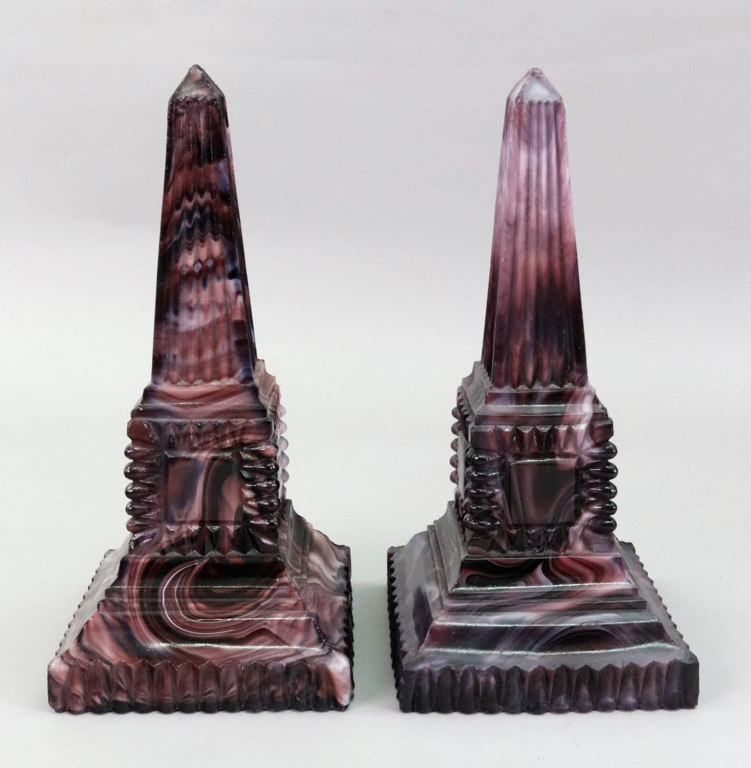 A pair of Victorian slag glass faux... Image