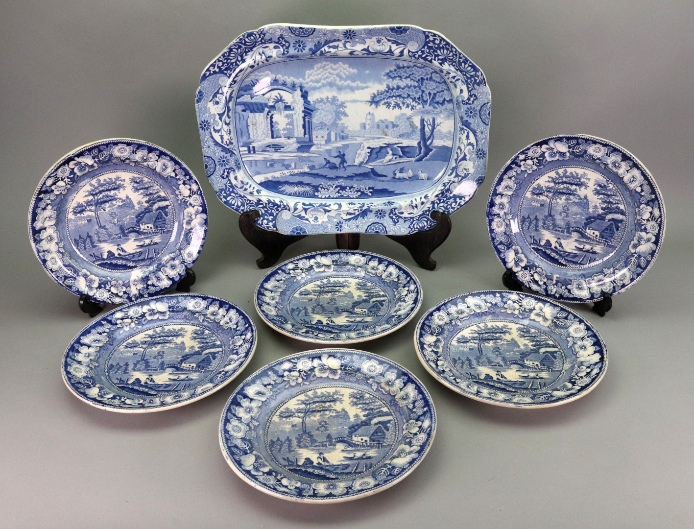 An English blue and white earthenware... Image