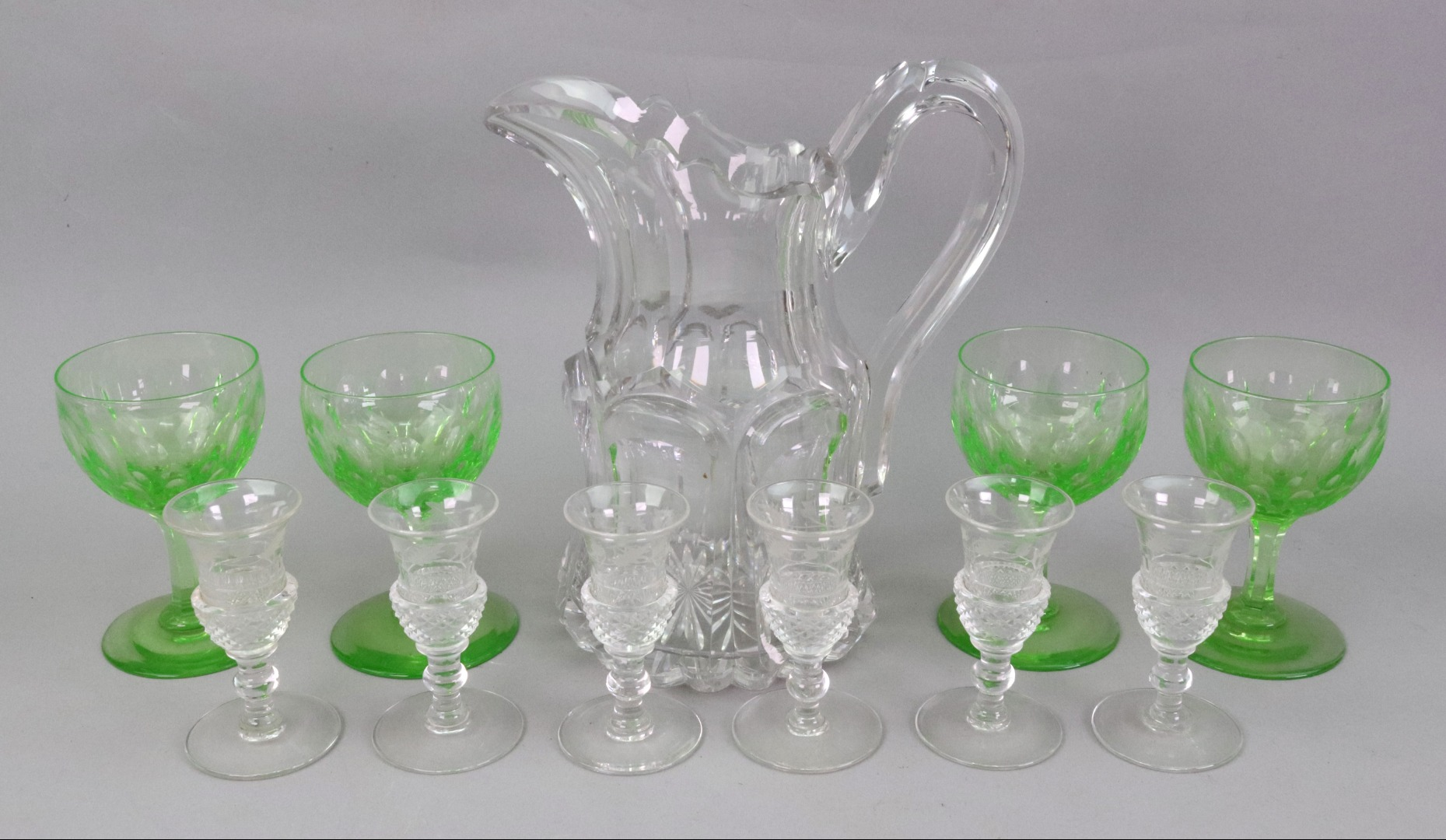 A Victorian facet cut glass water jug,... Image