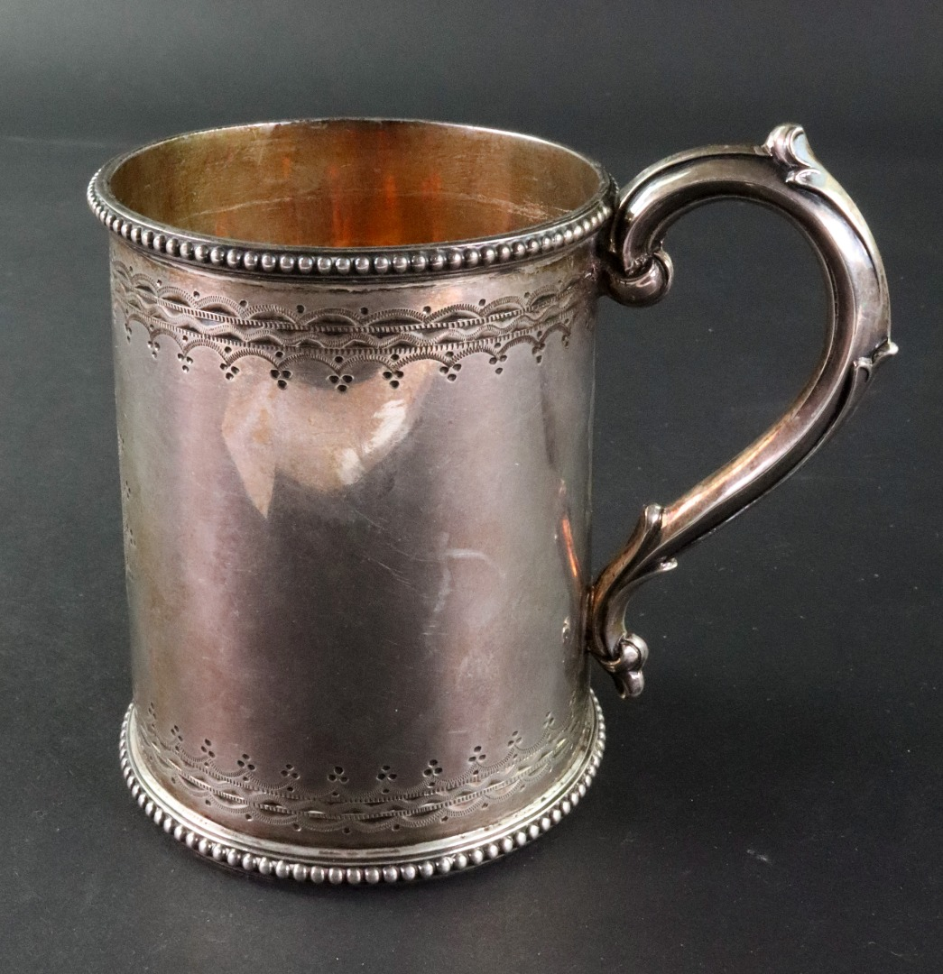 A Victorian silver christening can,... Image